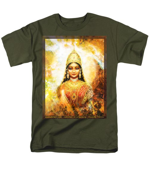 Men's T-Shirt  (Regular Fit) featuring the mixed media Lakshmi Goddess Of Abundance In A Galaxy by Ananda Vdovic