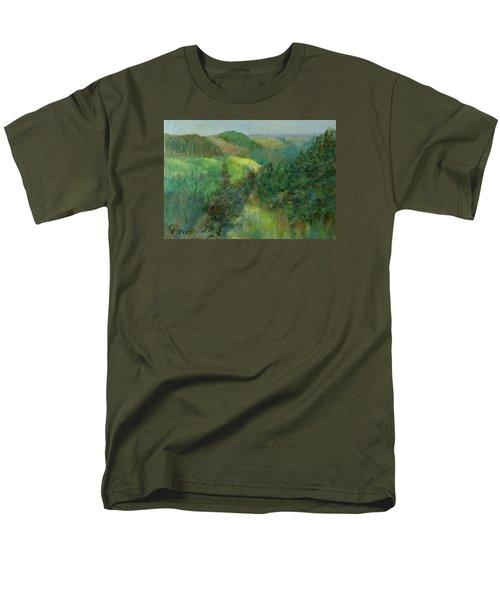 Layers Of Mountain Ranges Colorful Original Landscape Oil Painting Men's T-Shirt  (Regular Fit) by Elizabeth Sawyer