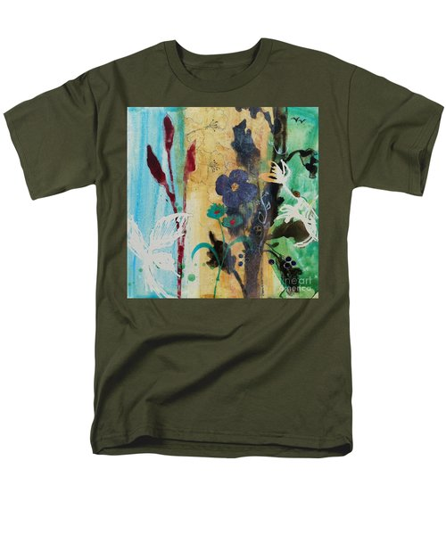 Men's T-Shirt  (Regular Fit) featuring the painting Leaf Flower Berry by Robin Maria Pedrero