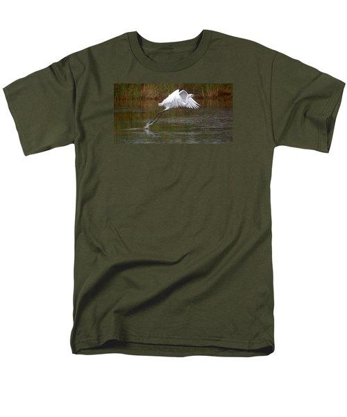 Leaping Egret Men's T-Shirt  (Regular Fit) by Leticia Latocki