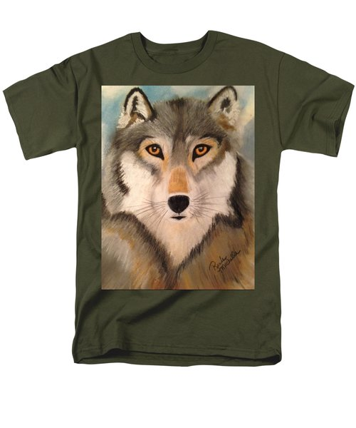 Looking At A Timber Wolf Men's T-Shirt  (Regular Fit) by Renee Michelle Wenker