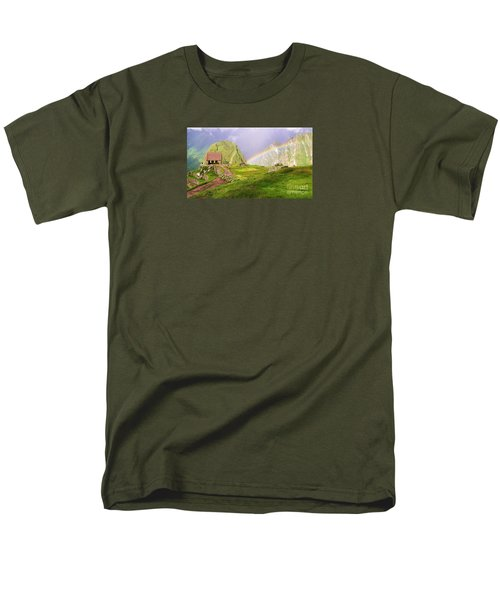 Men's T-Shirt  (Regular Fit) featuring the photograph Machu Picchu Rainbow by Michele Penner