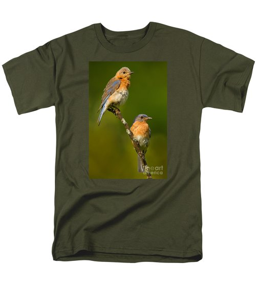 Male And Female Bluebirds Men's T-Shirt  (Regular Fit) by Jerry Fornarotto