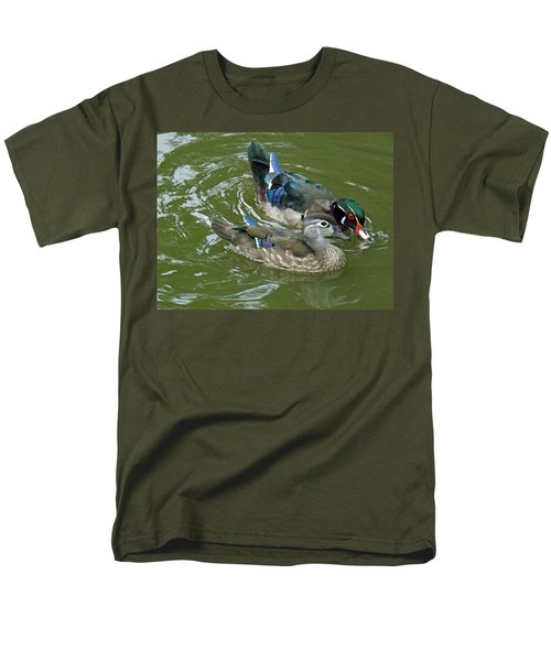 Male And Female Wood Ducks Men's T-Shirt  (Regular Fit) by Brenda Brown