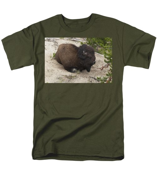 Men's T-Shirt  (Regular Fit) featuring the photograph Male Buffalo At Hot Springs by Belinda Greb