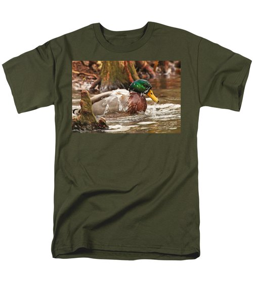 Mallard Duck Taking Bath Men's T-Shirt  (Regular Fit) by Luana K Perez