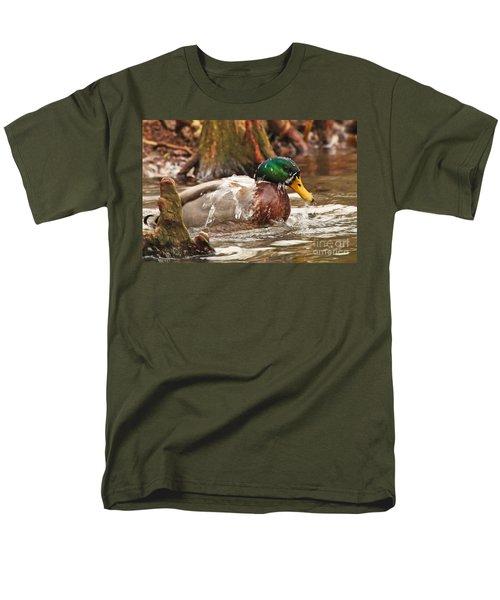 Men's T-Shirt  (Regular Fit) featuring the photograph Mallard Duck Taking Bath by Luana K Perez