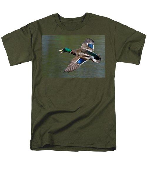 Men's T-Shirt  (Regular Fit) featuring the photograph Mallard In Flight by Jerry Gammon