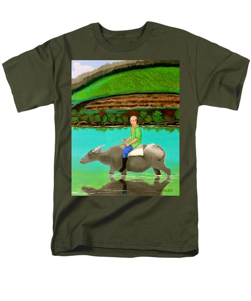 Men's T-Shirt  (Regular Fit) featuring the painting Man Riding A Carabao by Cyril Maza