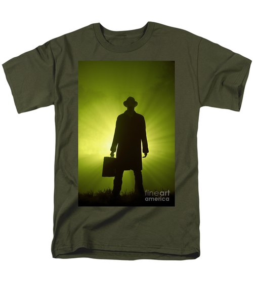 Men's T-Shirt  (Regular Fit) featuring the photograph Man With Case In Green Light by Lee Avison