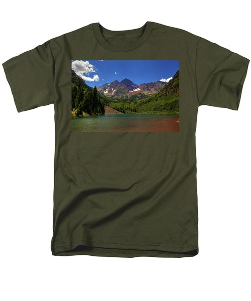 Men's T-Shirt  (Regular Fit) featuring the photograph Maroon Bells From Maroon Lake by Alan Vance Ley