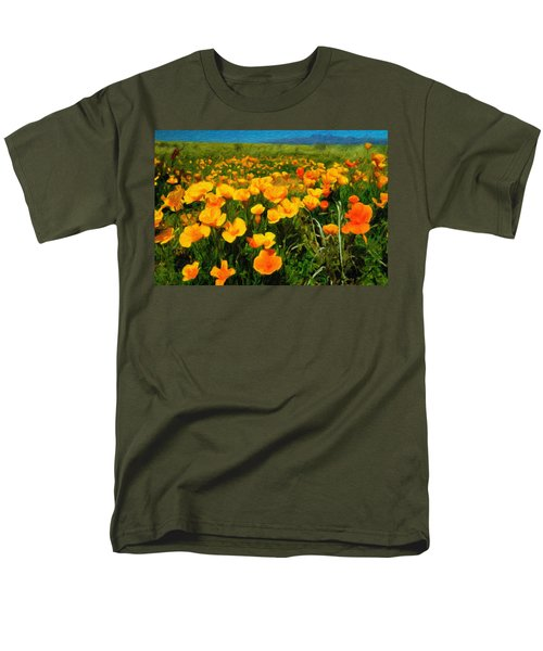 Men's T-Shirt  (Regular Fit) featuring the digital art Mexican Poppies by Chuck Mountain