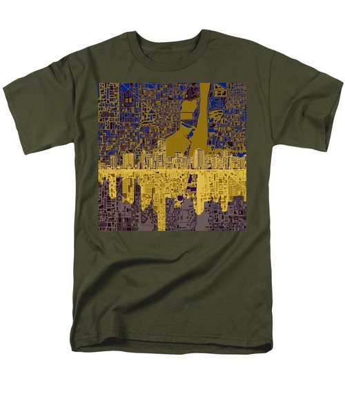 Miami Skyline Abstract 3 Men's T-Shirt  (Regular Fit) by Bekim Art