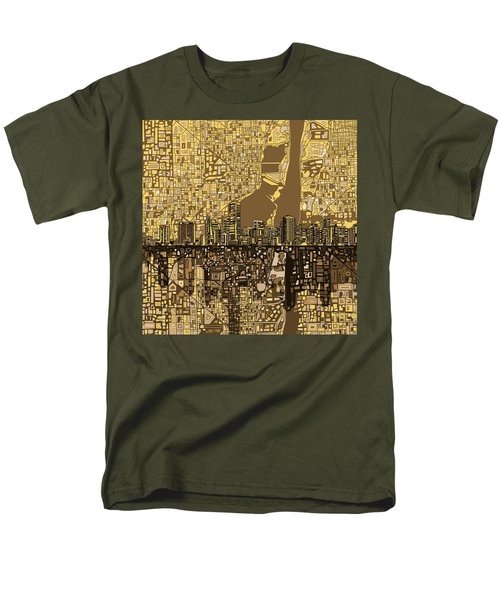 Miami Skyline Abstract 6 Men's T-Shirt  (Regular Fit) by Bekim Art