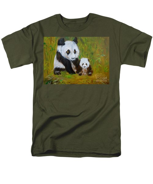 Men's T-Shirt  (Regular Fit) featuring the painting Mother And Baby Panda by Jenny Lee