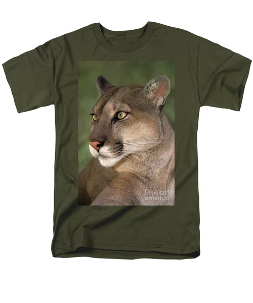 Mountain Lion Portrait Wildlife Rescue Men's T-Shirt  (Regular Fit) by Dave Welling
