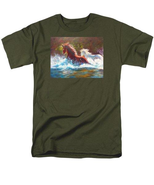 Mustang Splash Men's T-Shirt  (Regular Fit) by Karen Kennedy Chatham