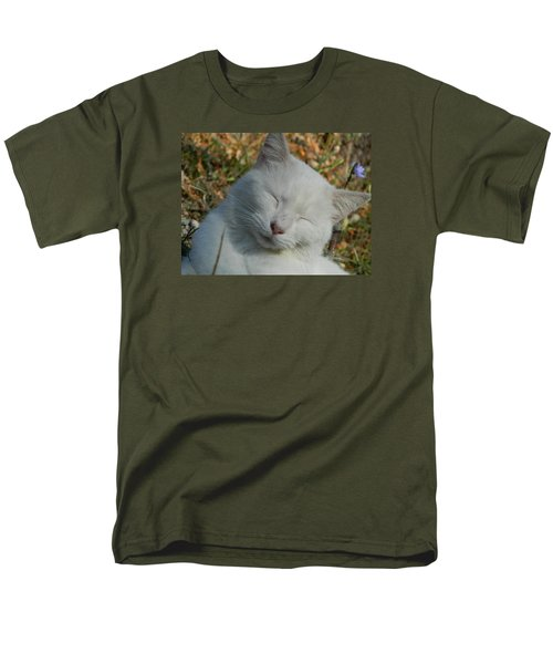 Men's T-Shirt  (Regular Fit) featuring the photograph Napping Barn Cat by Kathy Barney