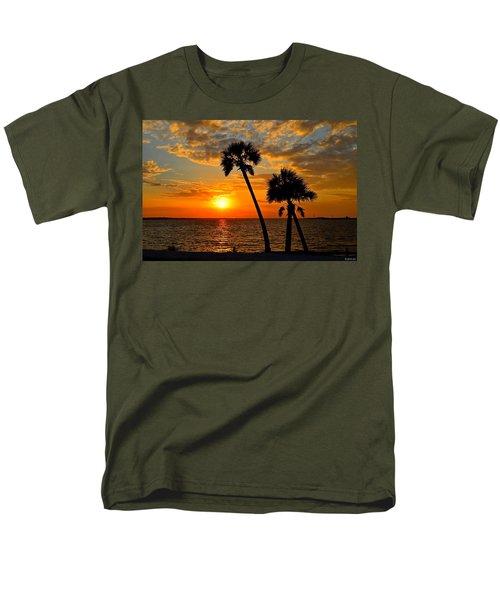 Navarre Beach Bridge Sunrise Palms Men's T-Shirt  (Regular Fit) by Jeff at JSJ Photography