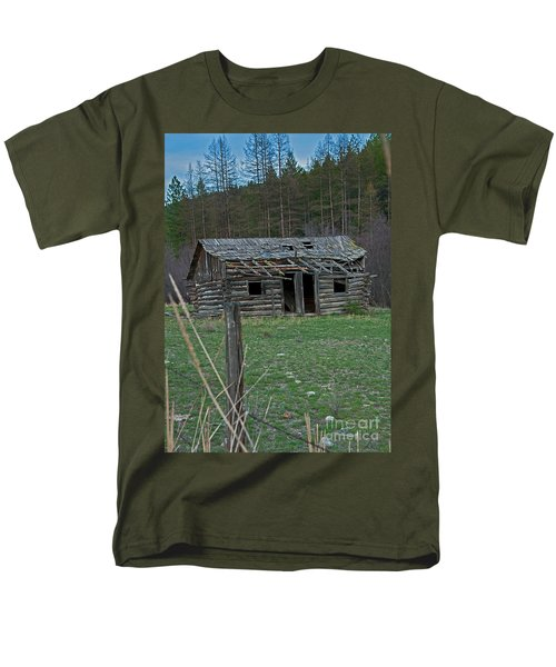 Men's T-Shirt  (Regular Fit) featuring the photograph Old Abandoned Homestead Cabin Art Prints by Valerie Garner