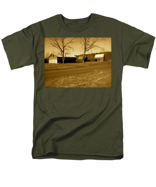 Old Red Barn In Sepia Men's T-Shirt  (Regular Fit) by Amazing Photographs AKA Christian Wilson