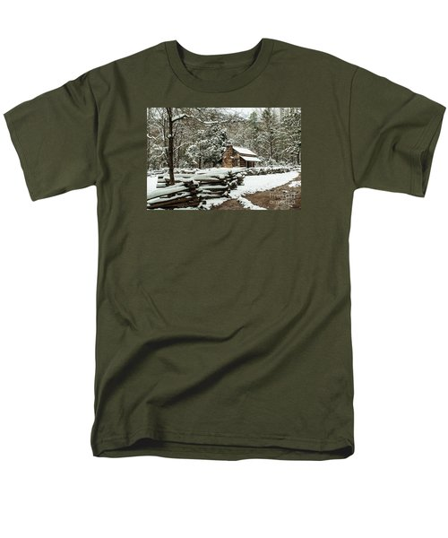 Men's T-Shirt  (Regular Fit) featuring the photograph Oliver's Log Cabin Nestled In Snow by Debbie Green