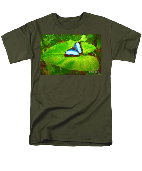 Painted Blue Morpho Men's T-Shirt  (Regular Fit) by Teresa Zieba