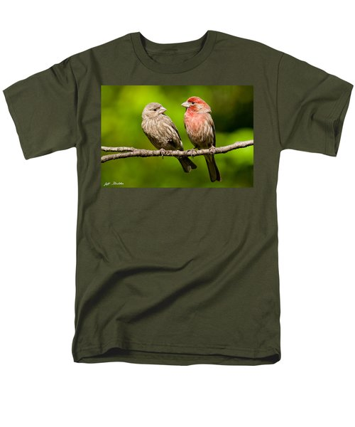 Pair Of House Finches In A Tree Men's T-Shirt  (Regular Fit) by Jeff Goulden