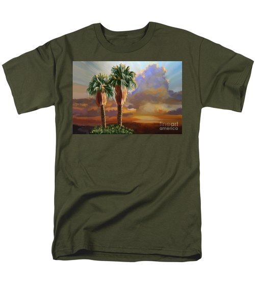 Men's T-Shirt  (Regular Fit) featuring the painting Palm Tree Cabo Sunset by Tim Gilliland