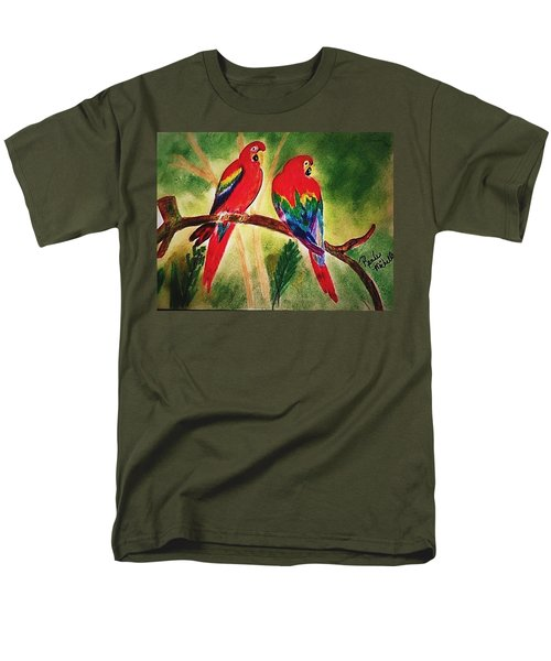 Parakeets In Paradise Men's T-Shirt  (Regular Fit) by Renee Michelle Wenker