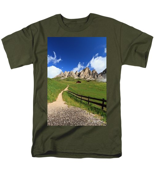 Men's T-Shirt  (Regular Fit) featuring the photograph path in Gardena pass by Antonio Scarpi
