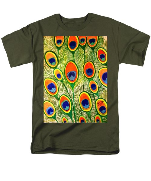 Peacock Feather Frenzy Men's T-Shirt  (Regular Fit) by Renee Michelle Wenker