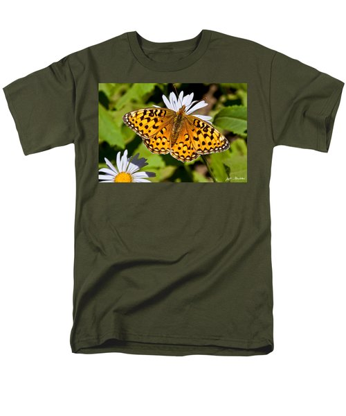 Men's T-Shirt  (Regular Fit) featuring the photograph Pearl Border Fritillary Butterfly On An Aster Bloom by Jeff Goulden