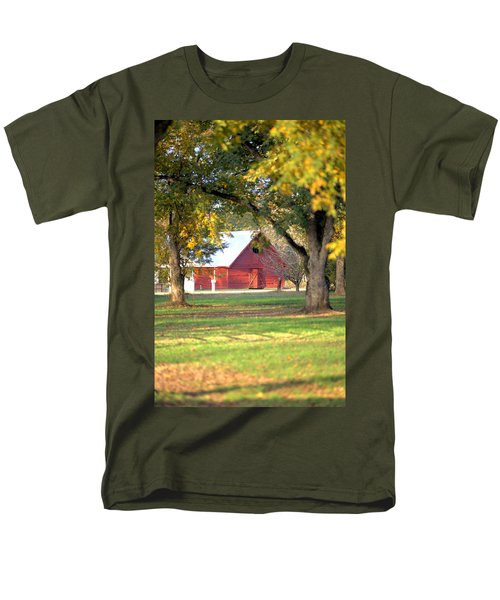 Men's T-Shirt  (Regular Fit) featuring the photograph Pecan Orchard Barn by Gordon Elwell