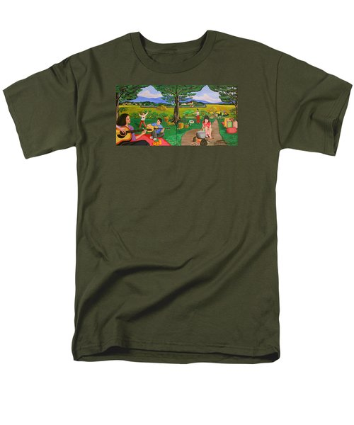Men's T-Shirt  (Regular Fit) featuring the painting Picnic With The Farmers And Playing Melodies Under The Shade Of Trees by Lorna Maza