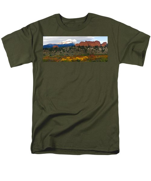 Men's T-Shirt  (Regular Fit) featuring the photograph Pikes Peak Fall Pano by Ronda Kimbrow