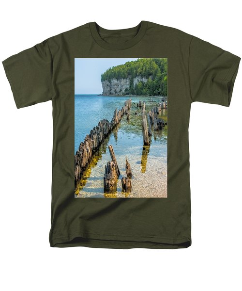 Pilings On Lake Michigan Men's T-Shirt  (Regular Fit) by Paul Freidlund