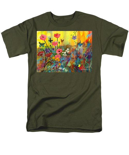 Men's T-Shirt  (Regular Fit) featuring the painting Pink Poppies In Paradise by Robin Maria Pedrero