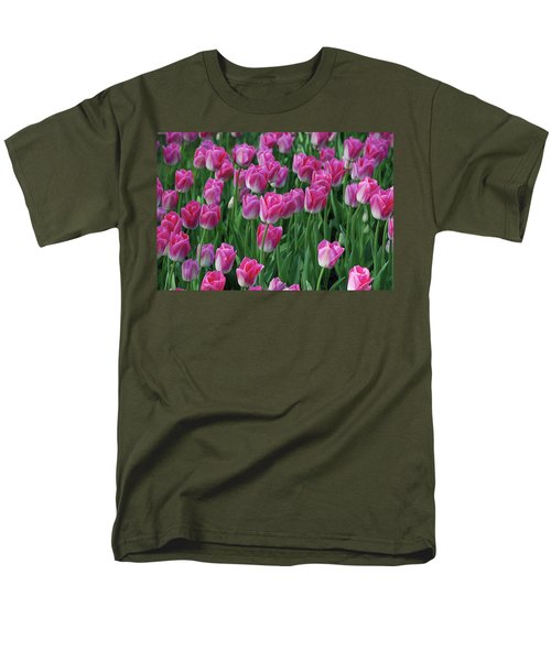 Men's T-Shirt  (Regular Fit) featuring the photograph Pink Tulips 2 by Allen Beatty