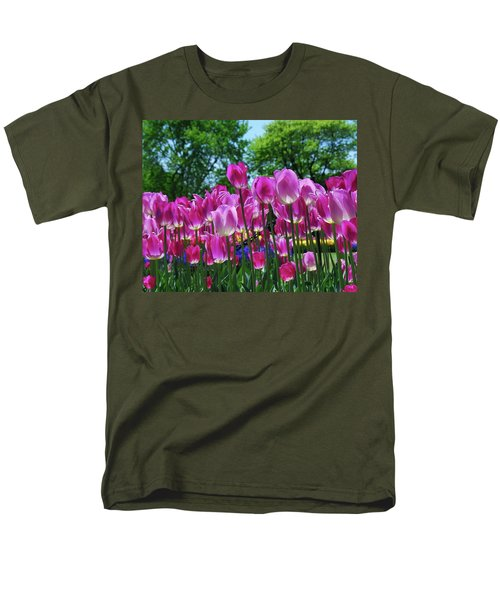 Men's T-Shirt  (Regular Fit) featuring the photograph Pink Tulips by Allen Beatty