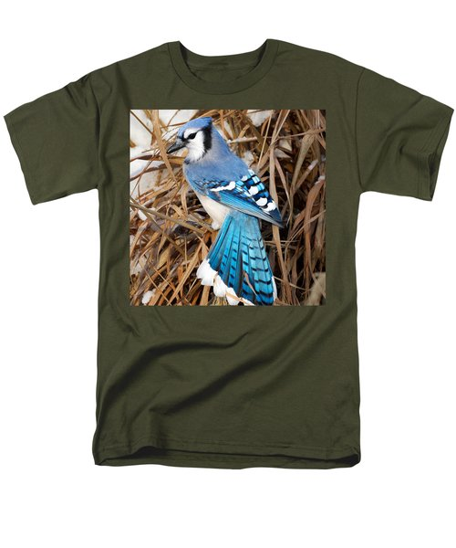 Portrait Of A Blue Jay Square Men's T-Shirt  (Regular Fit) by Bill Wakeley