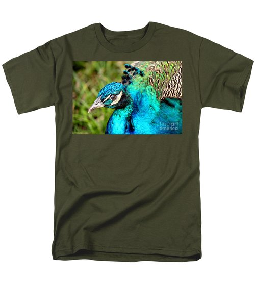 Men's T-Shirt  (Regular Fit) featuring the photograph Portrait Of A Peacock by Kathy  White
