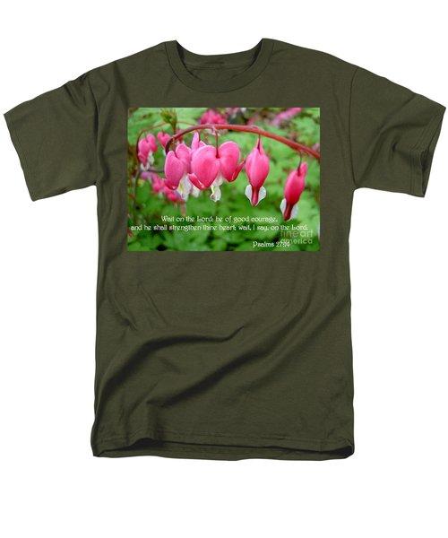 Psalms 27 14 Bleeding Hearts Men's T-Shirt  (Regular Fit) by Sara  Raber