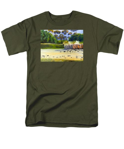 Men's T-Shirt  (Regular Fit) featuring the painting Quiet Sand By The Creek by Pamela  Meredith