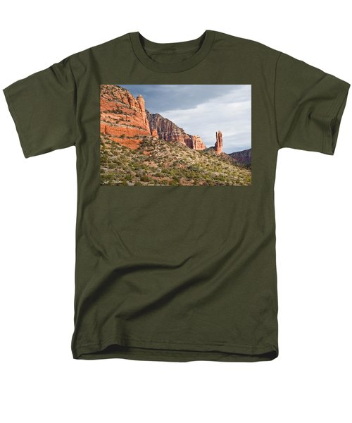 Men's T-Shirt  (Regular Fit) featuring the photograph Rabbit Ears Spire At Sunset by Jeff Goulden