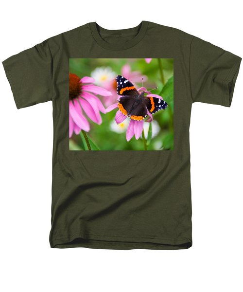 Men's T-Shirt  (Regular Fit) featuring the photograph Red Admiral Butterfly by Patti Deters