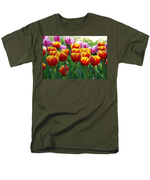 Men's T-Shirt  (Regular Fit) featuring the photograph Red And Yellow Tulips  by Allen Beatty