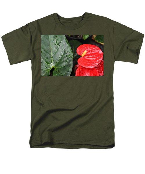Red Anthurium Flower Men's T-Shirt  (Regular Fit) by Denise Bird