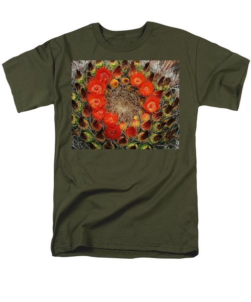 Men's T-Shirt  (Regular Fit) featuring the photograph Red Barell Cactus Flowers by Tom Janca