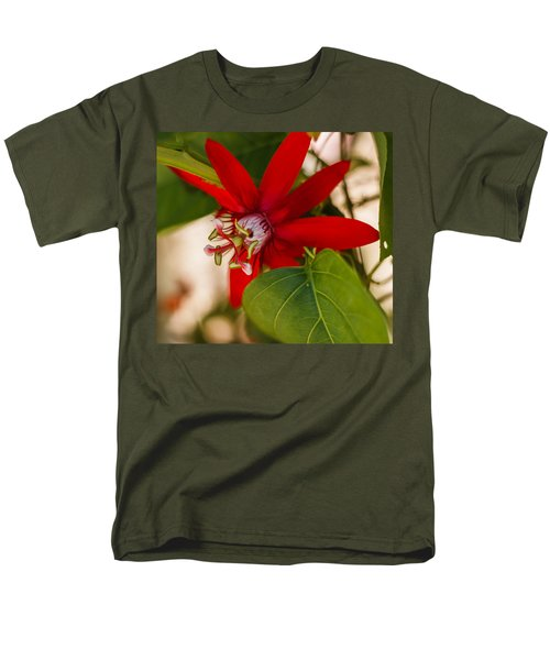 Men's T-Shirt  (Regular Fit) featuring the photograph Red Passion Flower by Jane Luxton
